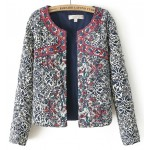 Blue Vintage Embroidery Pattern Long Sleeves Blazer Jacket