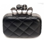 Black Quitled Diamante Gemstones Skulls Ring Evening Clutch Purse Jewelry Box