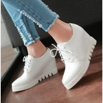 White Lace Up Wedges Platforms Oxfords Sneakers Shoes