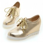 Gold White Sole Lace Up Wedges Platforms Oxfords Sneakers Shoes
