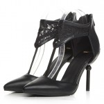 Black Crochet Lace T Strap Point Head Sexy Eveing High Stiletto Heels Shoes