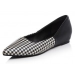 Black Houndstooth Point Head Loafers Flats Shoes