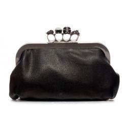 Black Skull Gemstones Ring Punk Rock Oversized Envelope Clutch Bag Purse