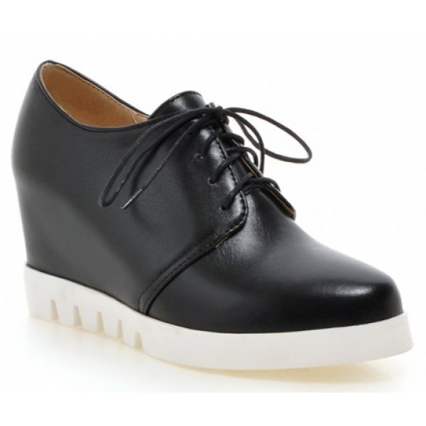 Black White Sole Lace Up Wedges Platforms Oxfords Sneakers Shoes