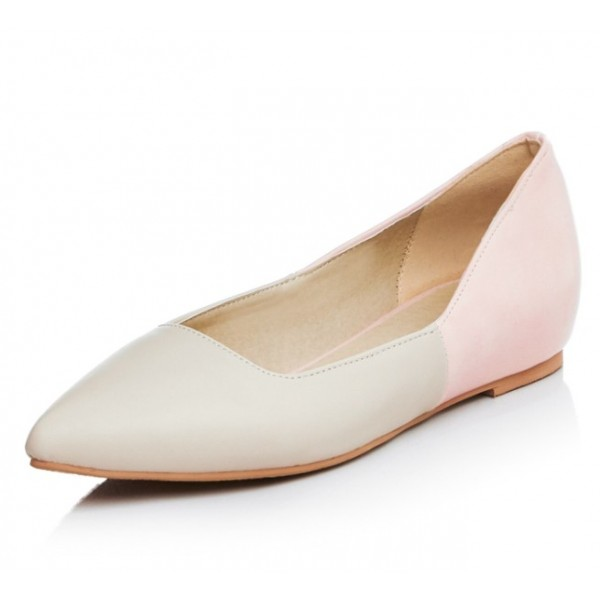 Khaki Pink Point Head Loafers Flats Shoes