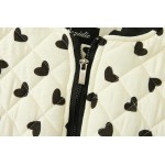 Cream Quilted Black Hearts Baseball Aviator Bomber Rider Jacket