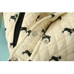 Cream Black Quilted Dogs Baseball Aviator Bomber Rider Jacket