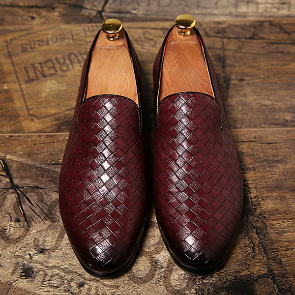 Burgundy Knitted Slip On Mens Loafers Dress Dapper Man Shoes Flats