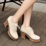 Cream Lace Up Ruffles Cleated Sole Platforms Chunky Heels Oxfords Shoes