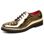 Gold Metal Rings Bowling Style Oxfords Dress Dapper Man Shoes Flats