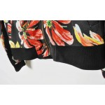 Black Colorful Giant Flowers Baseball Aviator Bomber Rider Jacket