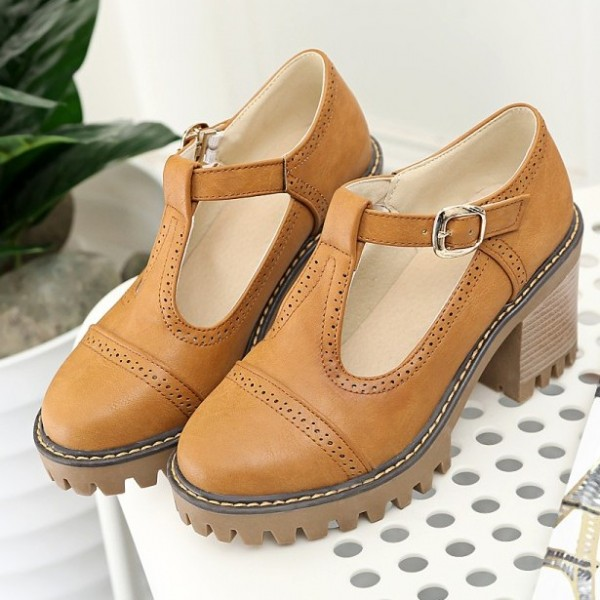 Brown Mary Jane T Strap Cleated Sole Platforms High Chunky Heels Oxfords Shoes
