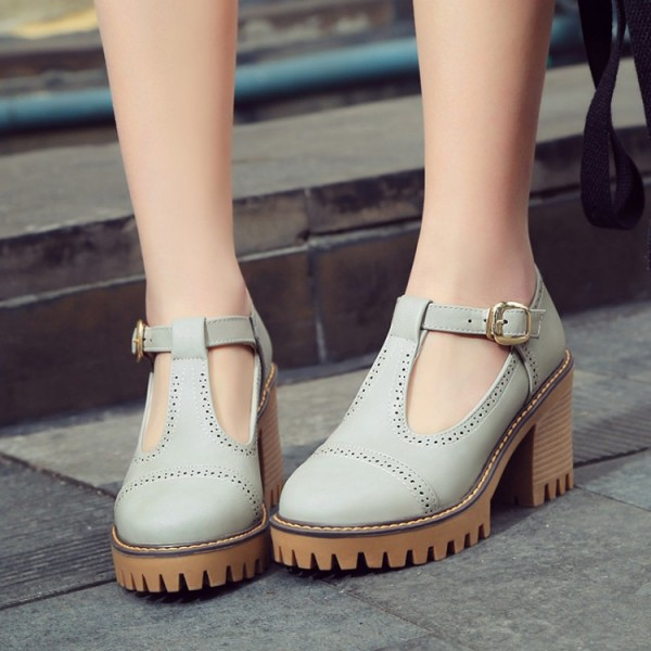 Grey Mary Jane T Strap Cleated Sole Platforms High Chunky Heels Oxfords Shoes