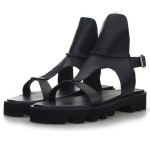 Black Leather Straps Mens Gladiator Roman Platforms Sandals Shoes