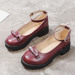 Burgundy Mini Bow Ankle Strap Mary Jane Ballerina Ballet Flats Shoes