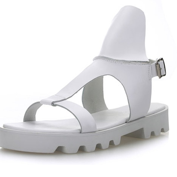 White Leather Straps Mens Gladiator Roman Platforms Sandals Shoes