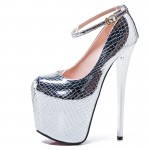Silver Metallic Bling Bling Platforms Stiletto Super High Heels Shoes