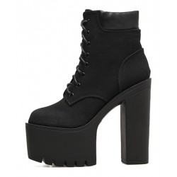 Black Suede Lace Up Punk Rock Chunky Sole Block High Heels Platforms Boots Shoes