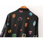 Black Colorful Jewels Gems Satin Baseball Aviator Bomber Rider Jacket