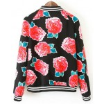 Black Red Roses Flowers Florals Baseball Aviator Bomber Rider Jacket