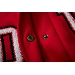 Red White Move Baseball Aviator Bomber Rider Jacket