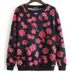Black Vintage Flowers Floral Roses Long Sleeve Sweatshirts Tops