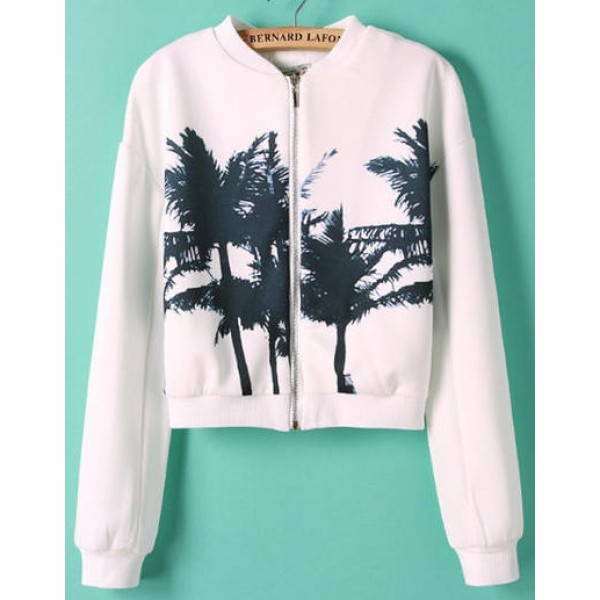 White Black Plam Trees Shadow Baseball Aviator Bomber Rider Jacket