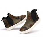 Green Camouflage Military Army Pony Fur High Top Chelsea Ankle Boots Sneakers Shoes