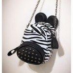 White Black Metal Studs Zebra Head Cross Body Bag