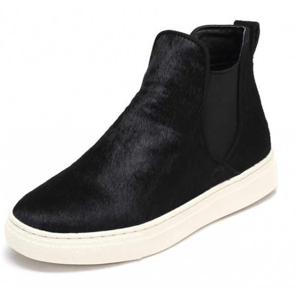 Black Pony Fur High Top Chelsea Ankle Boots Sneakers Shoes