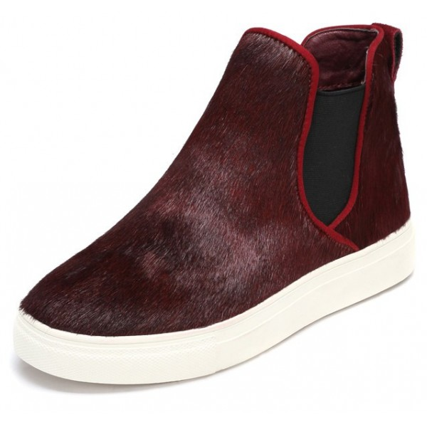 Burgundy Pony Fur High Top Chelsea Ankle Boots Sneakers Shoes