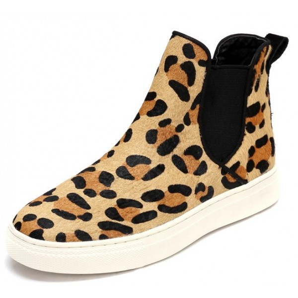 Khaki Leopard Print Pony Fur High Top Chelsea Ankle Boots Sneakers Shoes