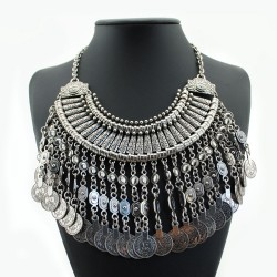 Silver Vintage Coins Tassels Bohemian Ethnic Necklace