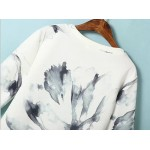White Vintage Flowers Floral Water Painting Long Sleeve Sweatshirts Tops