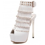 White Gold Studs Fringes Peeptoe Stiletto High Heels Platforms Ankle Boots Shoes