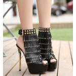 Black Gold Studs Fringes Peeptoe Stiletto High Heels Platforms Ankle Boots Shoes