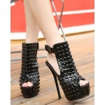 Black Patent Leather Studs Peeptoe Stiletto High Heels Platforms Ankle Boots Shoes