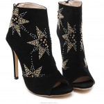 Black Suede Peeptoe Stars Studs Punk Rock High Stiletto Heels Boots Shoes