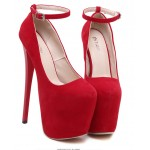 Red Suede Ribbons Ballerina Ballet Platforms Stiletto Super High Heels Shoes