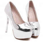 Silver Metallic Mirror Shiny Platforms Stiletto High Heels Bridal Shoes