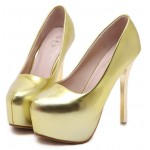 Gold Metallic Mirror Shiny Platforms Stiletto High Heels Bridal Shoes