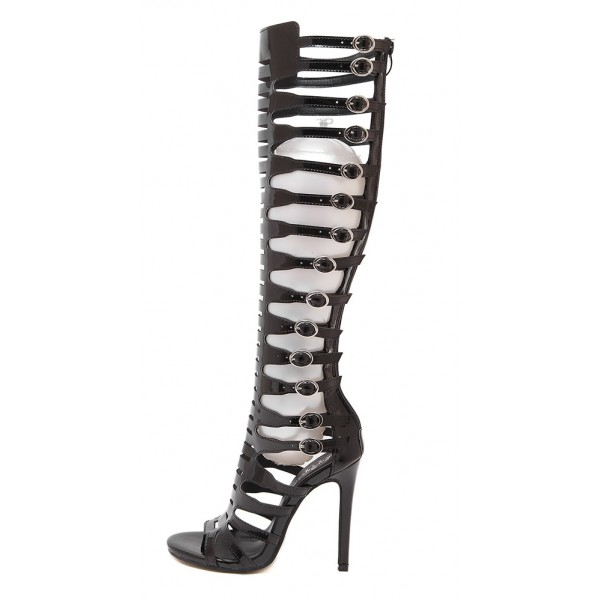 Black Straps Buckles Hollow Out Gladiator Roman Knee Stiletto High Heels Boots Shoes