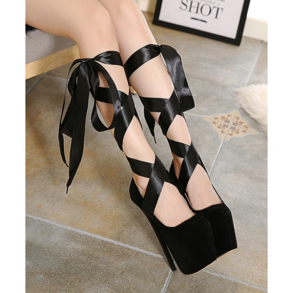 Black Suede Ribbons Ballerina Ballet Platforms Stiletto Super High Heels Shoes