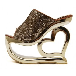 Gold Glitter Bling Bling Platforms Heart Hollow Out Wedges Sandals Bridal Shoes