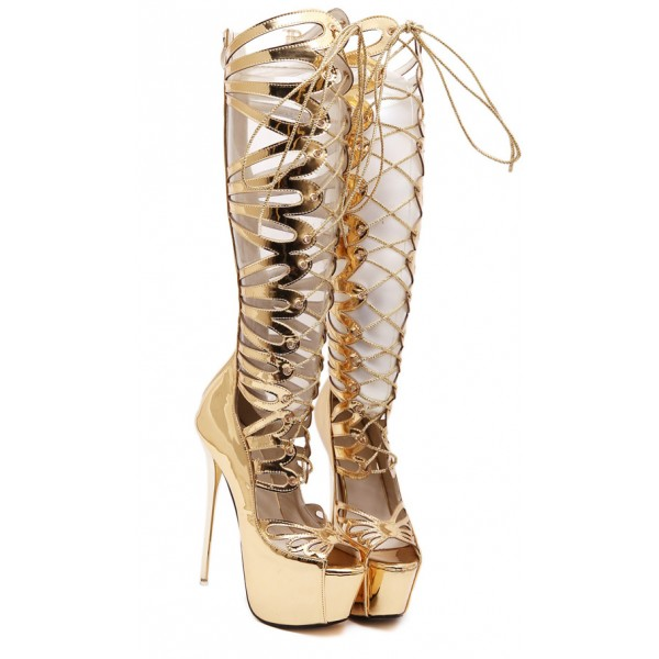 Gold Hollow Out Evening Gladiator Roman Platforms Stiletto High Heels Boots Shoes