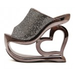 Grey Silver Glitter Bling Bling Platforms Heart Hollow Out Wedges Sandals Bridal Shoes