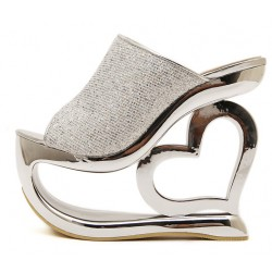 Silver Glitter Bling Bling Platforms Heart Hollow Out Wedges Sandals Bridal Shoes