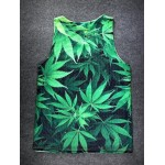 Green Hemp Leaves Net Sleeveless Mens T-shirt Vest Sports Tank Top