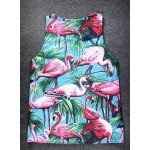 Blue Pink Flamingoes in Forest Net Sleeveless Mens T-shirt Vest Sports Tank Top