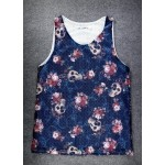 Black Skulls and Roses Punk Rock Gothic Net Sleeveless Mens T-shirt Vest Sports Tank Top